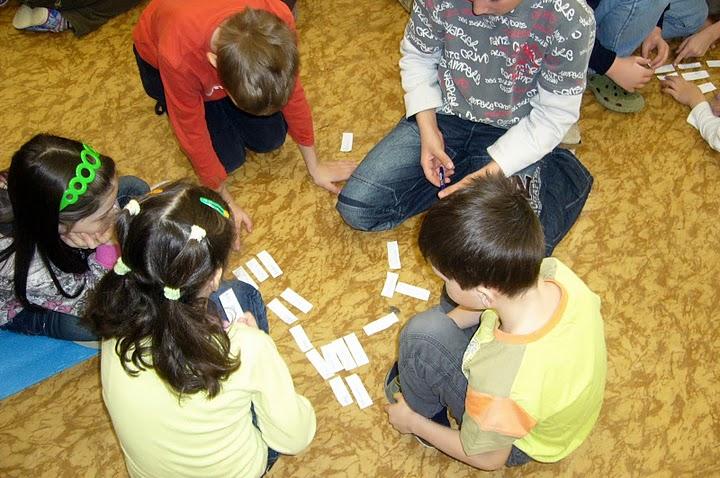 Brainstorming - třídění kartiček do celků.